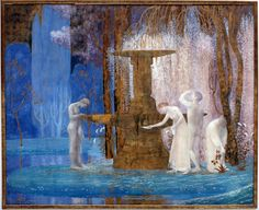 """1907 - """"The Fountain of Inspiration"""" by Constant Montald (Belgian, 1862 – 1944). Constant Montald was a Belgian painter, muralist, sculptor, and teacher; a key figure amidst Belgian Symbolists, who trained at the Royal Academy of Fine Arts in Ghent, then lived and studied briefly in Paris with fellow artist Henri Privat-Livemont at the École des Beaux-Arts.  These Symbolist wor..."""