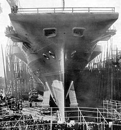 HMS Illustrious on the slipway ready for launch. Barrow-in-Furness, April 5, 1939. She was launched by Lady Henderson, wife of Admiral Henderson. Twenty thousand people looked on.