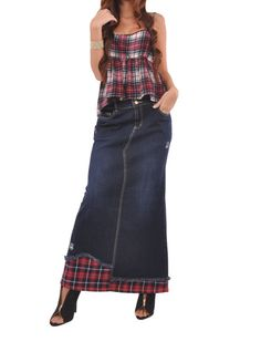 "Skirt details: * petite length 35.5"" * regular fit * stretch brushed denim * two pockets A-line style * front zipper & belt loops * seams & fringe design * 98% cotton, 2% spandex * You've been busy he"