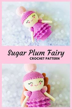 This beautiful amigurumi doll pattern was inspired by The Sugar plum fairy. Crochet step-by-step pattern for beginners. Sewing Doll Clothes, Crochet Doll Clothes, Sewing Dolls, Knitted Dolls, Felt Dolls, Crochet Dolls, Crocheted Toys, Crochet Animal Patterns, Crochet Doll Pattern