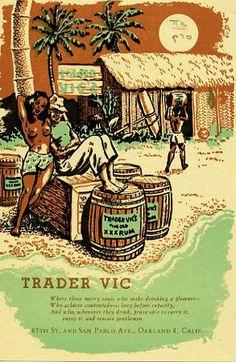 Love this color combination. Trader Vic's menu, Oakland, CA. Zippertravel.com Digital Edition