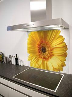 Sunflower Printed Glass Splashback from DIYSplashbacks.co.uk