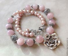 Купить Колье В розовом саду, розовый кварц, жемчуг, серебро 925 - розовый