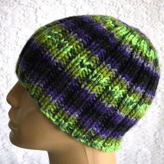 c6232dc644e Purple neon green black beanie hat ribbed beanie mens womens knit hat toque knit  beanie hat mens chemo cap womens winter hat striped hat