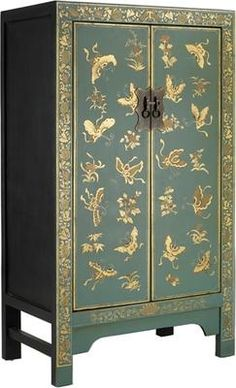 Medium Classic Chinese Cabinet - Blue by The Nine Schools £350 +FREE standard delivery  Height: 120 cm  Width: 70 cm  Depth: 40 cm