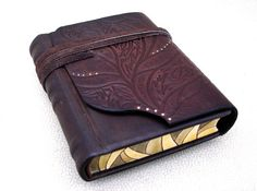 Leather Journal, Handbound Blank Book, Brown Rustic Embossed Leather, Sketchbook, Painted Edges