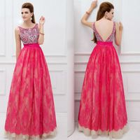 Custom Made Scoop Spaghetti Strap Deep V Back Beaded Lace Prom Dress Abendkleider Crystal 2014 Vestidos De Renda-169$
