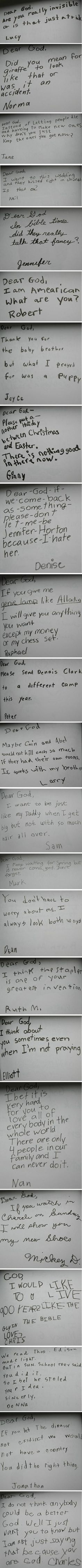 "If you really want an honest answer or you want to know the truly important questions about life, ask a child. -  ""Dear God,"" – Kids write letters to God with some heavy topics 