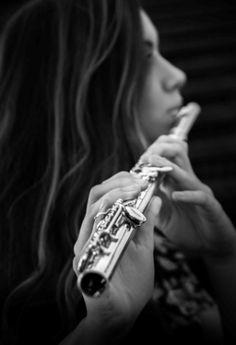 senior, girl, flute