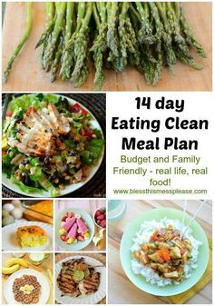 14 Day Eating Clean Meal Plan ~ an easy starting point to changing your eating habits. An eating clean meal plan that is family, budget, and real life friendly. No need to go to the health food store, just use this tried and true meal plan to start you on your journey to health!