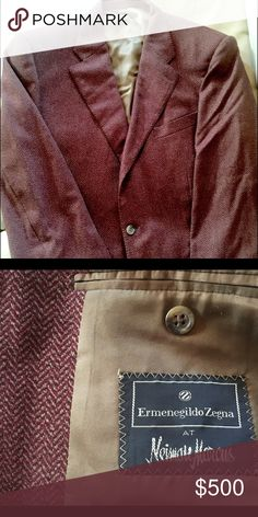 Erminegildo Zegna wool&cashmere fall jacket Herringbone burgundy & taupe. Wool & cashmere sport coat, 3button front, closed vent back, notched lapel, excellent condition. Fully lined! Ermenegildo Zegna Suits & Blazers Sport Coats & Blazers