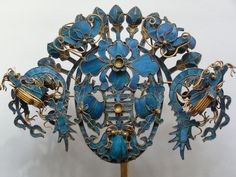Chinese Kingfisher Dragon and Flowers Hairpin