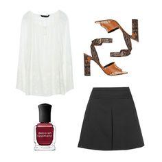 Printed-Leather Sandals, Valentino $1345 Twill Mini Skirt, J. Crew $100 Nail Polish in Lady is a Tramp, Deborah Lippmann $18