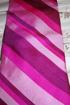 VINTAGE TIE Silk Diagonal Stripes Pink Magenta Burgundy