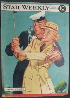 1944 Star Weekly Cover ~ Sailor Helps Army Gal with Golf Swing