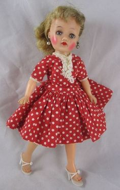 1958 Ideal 101/2 Little Miss Revlon Doll High Color Dress Shoes Earrings