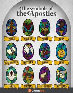 Catholic quotes, infographics, memes and more resources for the New Evangelization. Infographic: The Symbols Of The Apostles. Catholic Prayers, Catholic Catechism, Catholic Religious Education, Catholic Crafts, Catholic Kids, Catholic Quotes, Religious Art, Roman Catholic, Teaching Religion