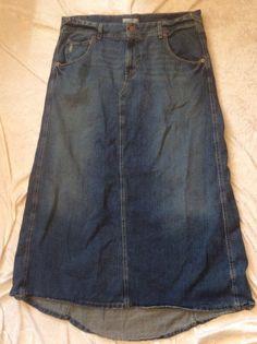 Levis Jean Skirt 16 Womens Long Modest Distressed Pockets No Slit