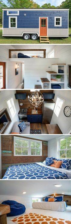 The Indigo tiny house, a 284-square-foot home. Love the Murphy bed to convert to desk or space