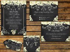 Printable Wedding Invitation Suite - Customizable Wedding Invites - DIY Wedding Invitation Set, Chalkboard Wedding Set, Chalkboard Wedding