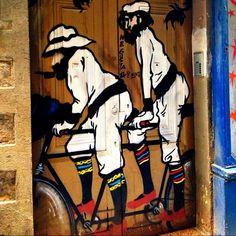 "Location: Barcelona, Spain  Homage to "" Ramon Casas and Pere Romeu on a Tandem "" by Ramon Casas"