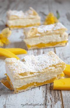 Mango-Cremeschnitten, ein kleine fruchtige Abwandlung des traditionellen Klassikers.