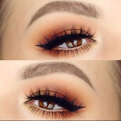 warm smokey eye + black winged liner | makeup @ @rachelhelen1991