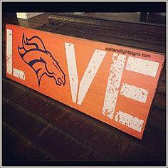 http://www.saltandlightsigns.com Denver Broncos Wooden Sign Rustic Team Football NFL Spirit