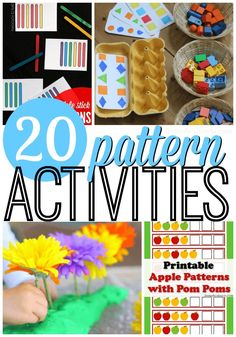 Recognizing and completing patterns is a fundamental part of learning early math skills for preschoolers. Here are 20 of our favorite ways to practice this skill! Patterning Kindergarten, Preschool Math, Preschool Worksheets, Printable Worksheets, Teaching Math, Teaching Ideas, Free Printable, Montessori Activities, Kindergarten Activities