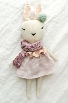 Beautiful Handmade Bunny Doll by lespetitesmainsS on Etsy