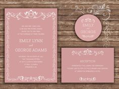 Dusty Pink Wedding Invitation Wedding by DespinaGraphicDesign https://www.etsy.com/shop/DespinaGraphicDesign