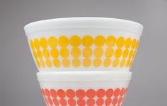 Pyrex Mixing Bowls  New Dots  Full Set by driversidearm on Etsy, $165.00