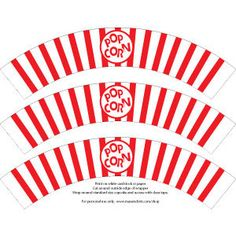 Printable Popcorn Cupcake Wrapper via Etsy.