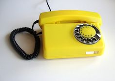 Yellow rotary telephone vintage home decor dial desk phone, Vintage Phones, Vintage Telephone, Old Phone, Shades Of Yellow, The Good Old Days, Vintage Yellow, Vintage Home Decor, Landline Phone, French Antiques