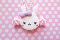 Pastel Fairy Kei Bat Bunny Necklace by NerdyLittleSecrets on Etsy, $12.00
