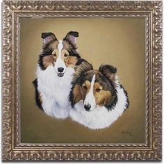 Trademark Fine Art 'Collies 1' Canvas Art by Jenny Newland, Gold Ornate Frame, Size: 11 x 11, Assorted