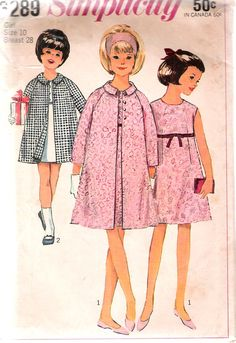 """Vintage 1965 Simplicity 6289 Girl's Dress & Coat Sewing Pattern Size 10 Breast 28"""" by Recycledelic1 on Etsy"""