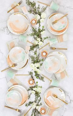watercolor inspired partyware