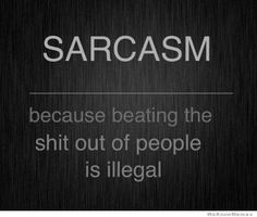 Sarcasm Because Beating The Shit Out Of People Is Illegal ...