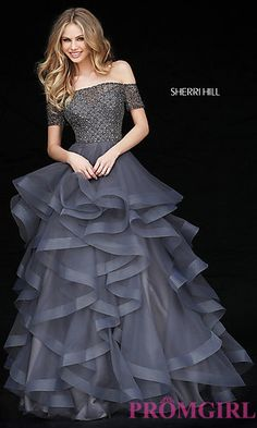 Short Sleeve Off-the-Shoulder Ruffle Ball Gown