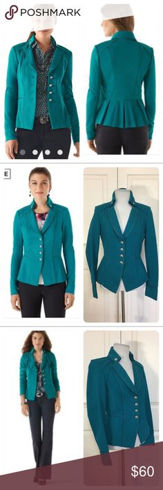 NWOT! LOTUS PONTE JACKET in teal NWOT! Lotus Ponte Jacket Love it? Everyone else did too. This item sold out!  Lotus teal is the go-to color that will move your wardrobe forward. This shapely jacket in refined ponté knit has buttoned Napoleonic collar, tacked-down lapels and a box-pleated peplum flare in back. 70% Machine wash or dry clean.  Princess-seamed stretch fit. Four-button closure. Seamed waistline.  Satin-piped seams and satin-lined lapel. Inset grosgrain trim on shoulder and…