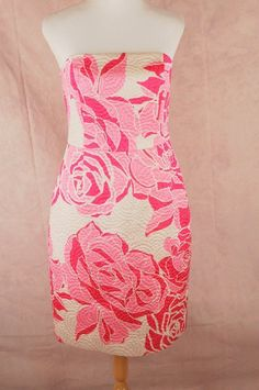 Lilly+Pulitzer+Pink+Label+Allegra+Strapless+Dress+10+Lavie+En+Rose+Cameo+Silk+#LillyPulitzer