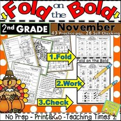 November FOLD ON THE BOLD (2nd Grade) Self Checking Math and ELA Practice pages