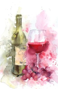 Grapes Wine Art Painting Ideas by Rachel Mcnaughton - Red Wine With Wine Bottle & Wine Glasses. Wine Painting, Painting & Drawing, Colorful Drawings, Art Drawings, Art Du Vin, Wine Art, Stretched Canvas Prints, Painting Inspiration, Watercolor Art