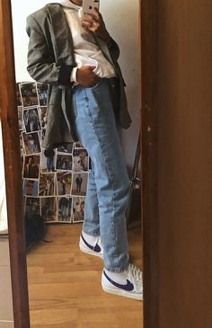 Nike Blazers Outfit, Blazer Outfits, Nike Outfits, Retro Outfits, Cute Casual Outfits, Teenage Outfits, Nike Air Force 1, Everyday Outfits, Aesthetic Clothes