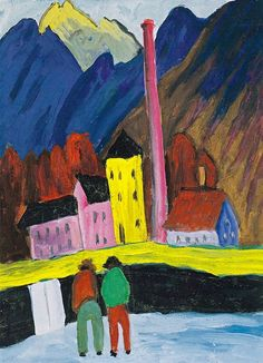 Marianne von Werefkin - The Factory, 1910-11. Gouache on paper, 37 cm (14.57 in.) x 27 cm (10.63 in.). Private Collection