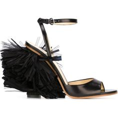 Moschino fringed sandals (1 460 670 LBP) ❤ liked on Polyvore featuring shoes, sandals, black, leather shoes, black leather sandals, leather sandals, ankle wrap sandals and black high heel shoes