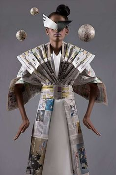 "Manuel Minino""s Newspaper Dress from his ""Paper Dolls"" Collection"