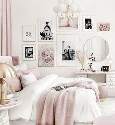 Pink Bedroom Decor, Room Design Bedroom, Girl Bedroom Designs, Room Ideas Bedroom, Home Bedroom, Bedroom Black, Ikea Teen Bedroom, Art For Bedroom, Cozy White Bedroom
