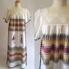 Vintage Mexican Woven Dress Huipil Crochet by OdettesVintage, $55.00
